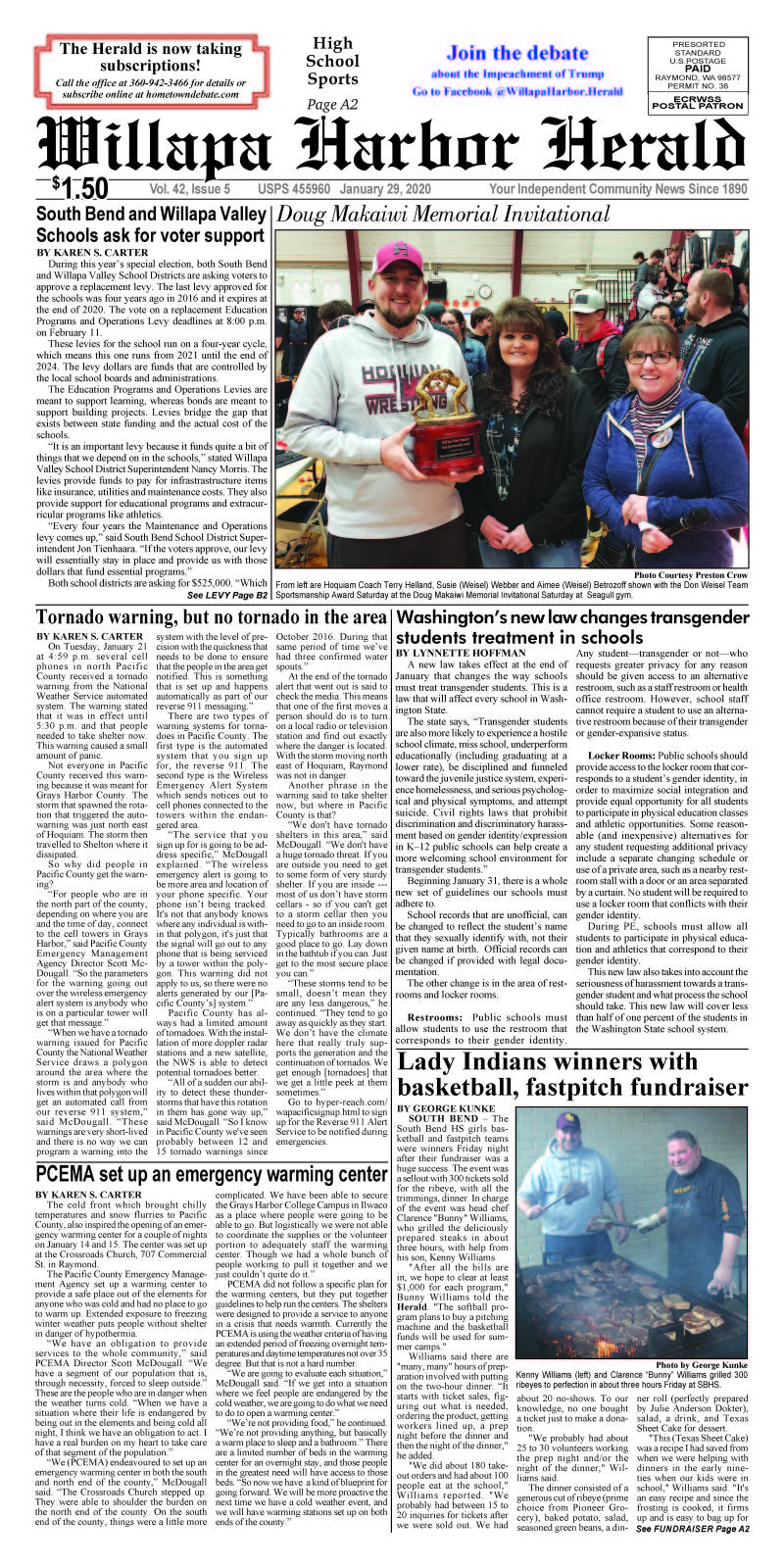 January 29, 2020 Willapa Harbor Herald and Pacific County Press