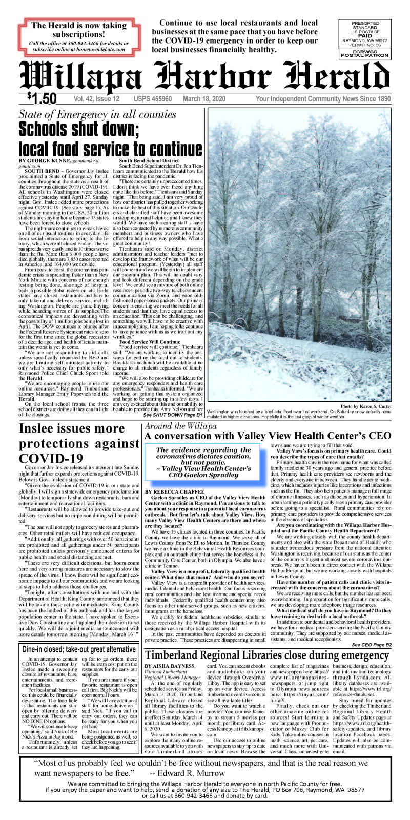 March 18, 2020 Willapa Harbor Herald and Pacific County Press
