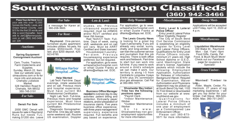 Classifieds 3.18.20