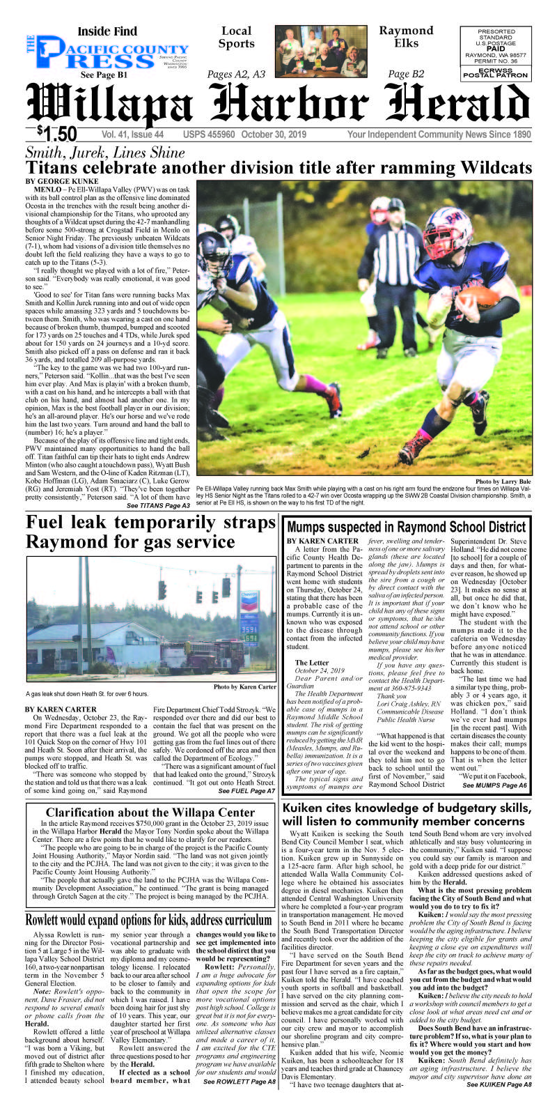 October 30, 2019 Willapa Harbor Herald and Pacific County Press