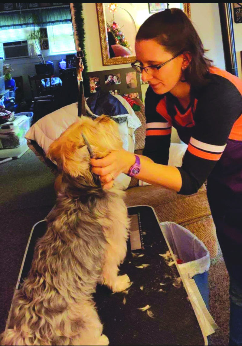 Photo by Lynnette Hoffman - Amanda grooming a dog in owner's home.