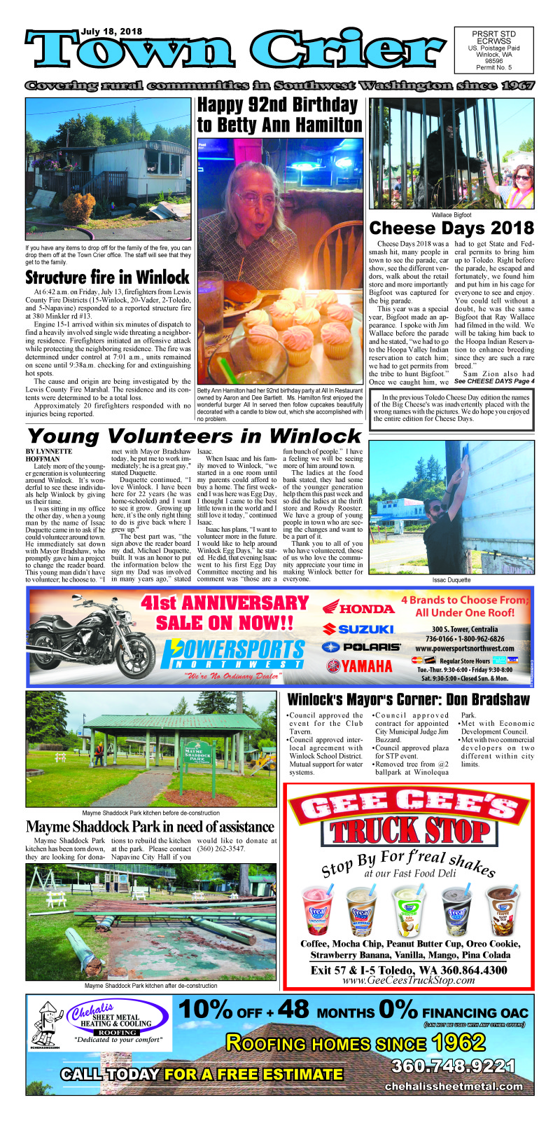 July 18, 2018 Town Crier