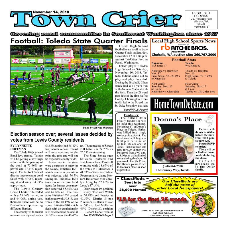 November 14, 2018 Town Crier