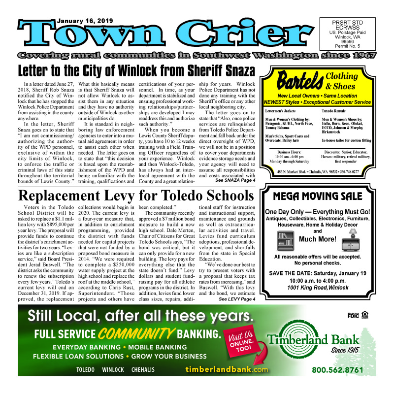 January 16, 2019 Town Crier