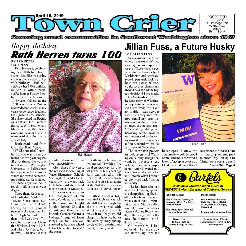 April 10, 2019 Town Crier