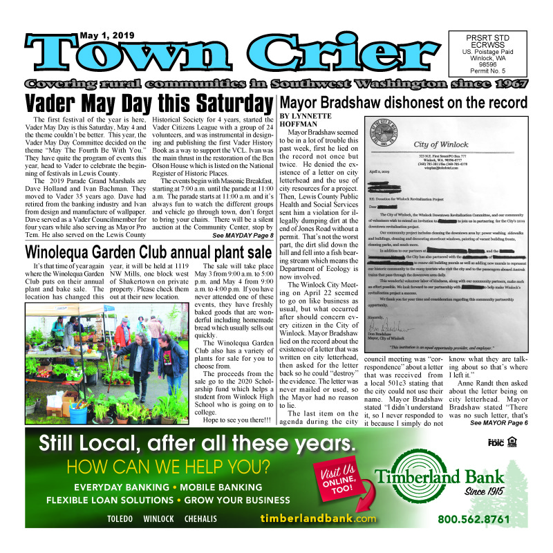 May 1, 2019 Town Crier