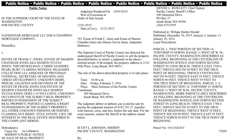 LEGAL 79209: SHERIFF'S PUBLIC NOTICE OF SALE OF REAL PROPERTY