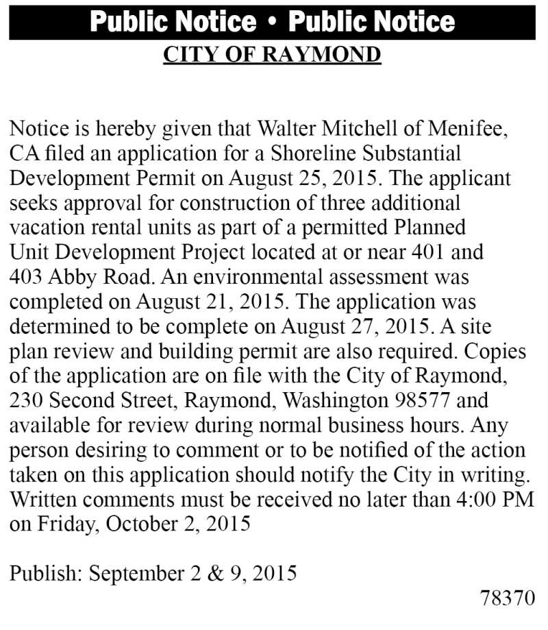 Legal 78370: CITY OF RAYMOND