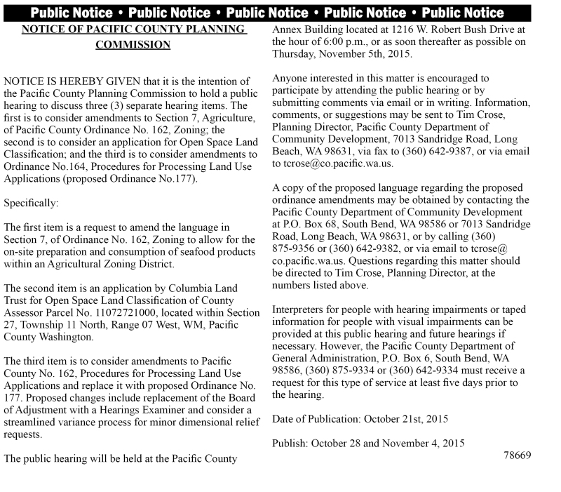Legal 78669: Notice of Pacific County Planning Commission