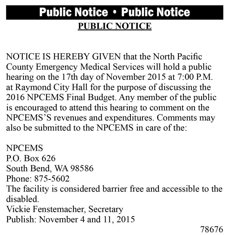Legal 78676: NPCEMS Public Notice