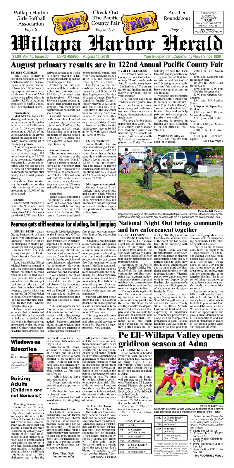 August 15, 2018 Willapa Harbor Herald