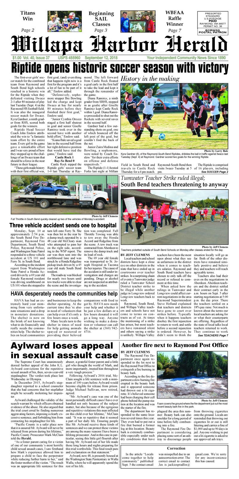 September 12, 2018 Willapa Harbor Herald