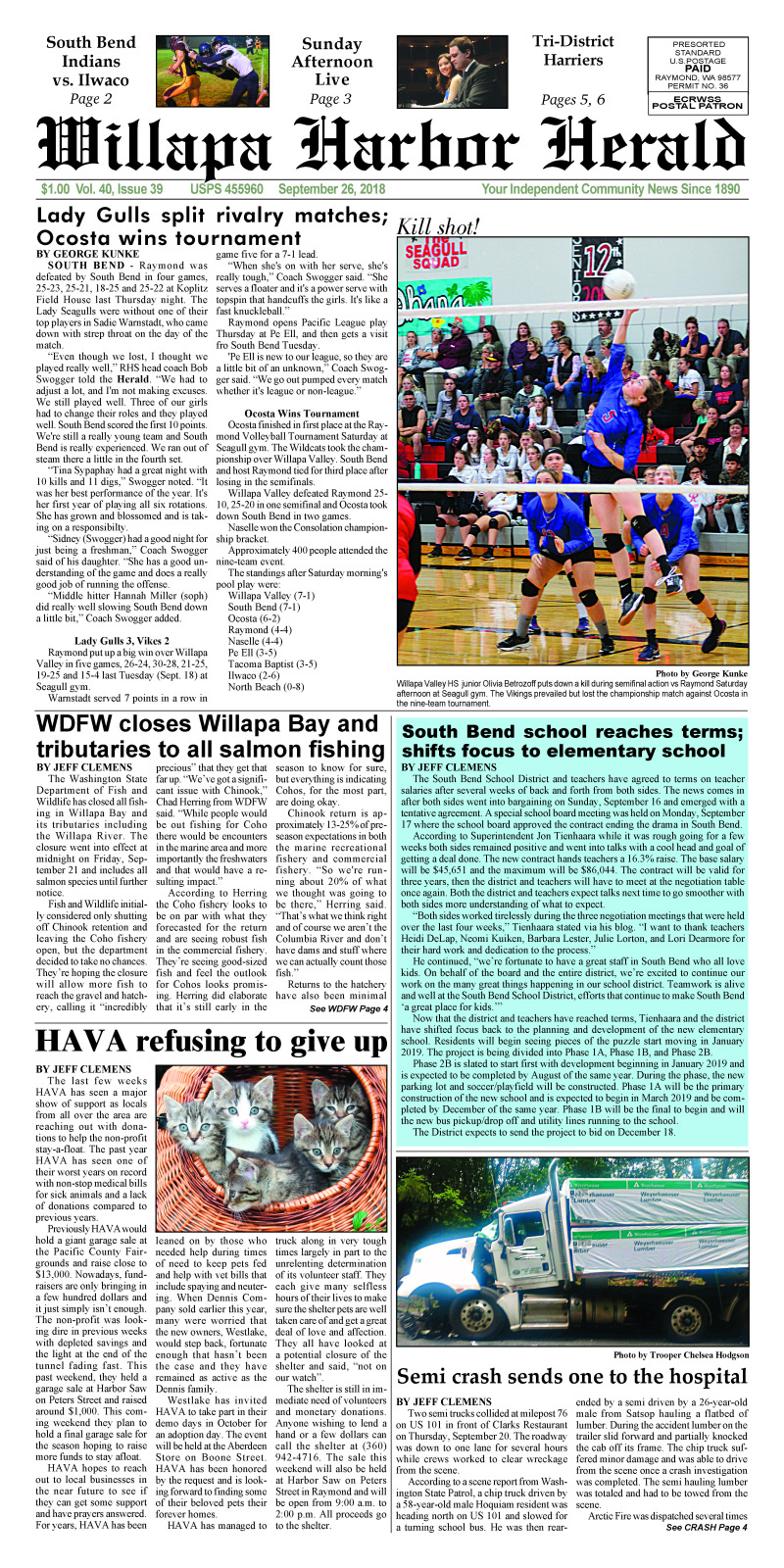 September 26, 2018 Willapa Harbor Herald