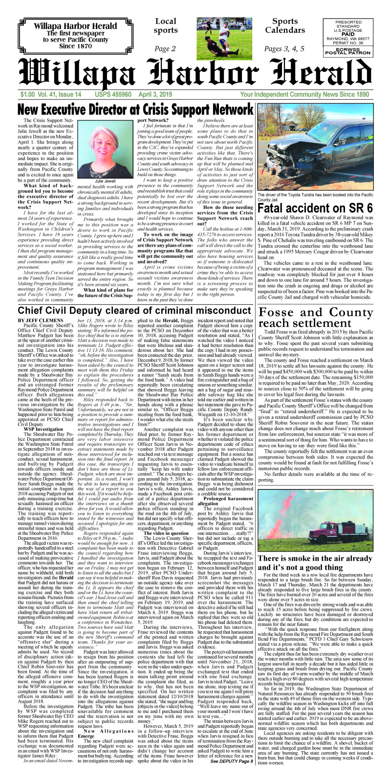April 3, 2019 Willapa Harbor Herald
