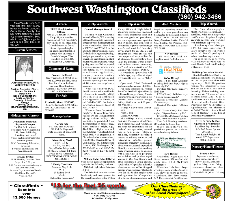 Classifieds 5.8.19