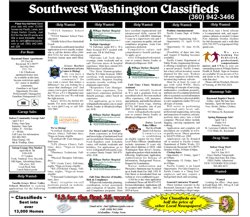 Classifieds 4.3.19
