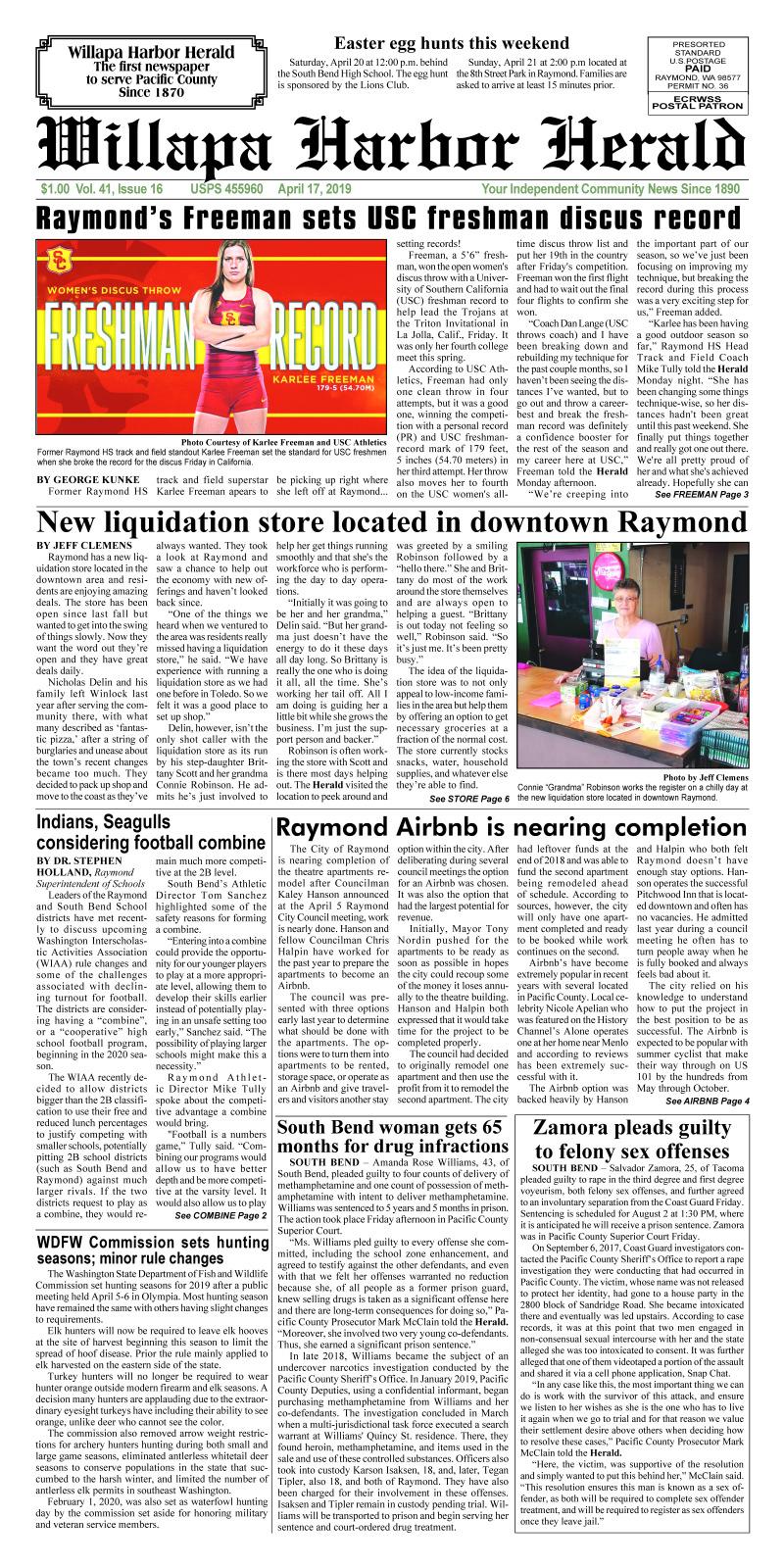 April 17, 2019 Willapa Harbor Herald