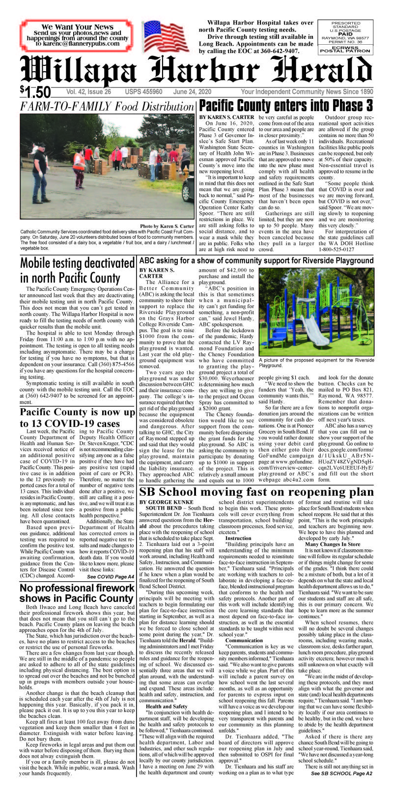 June 24, 2020 Willapa Harbor Herald and Pacific County Press