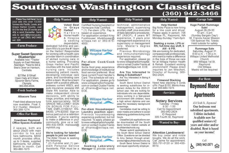 Classifieds August 26, 2020