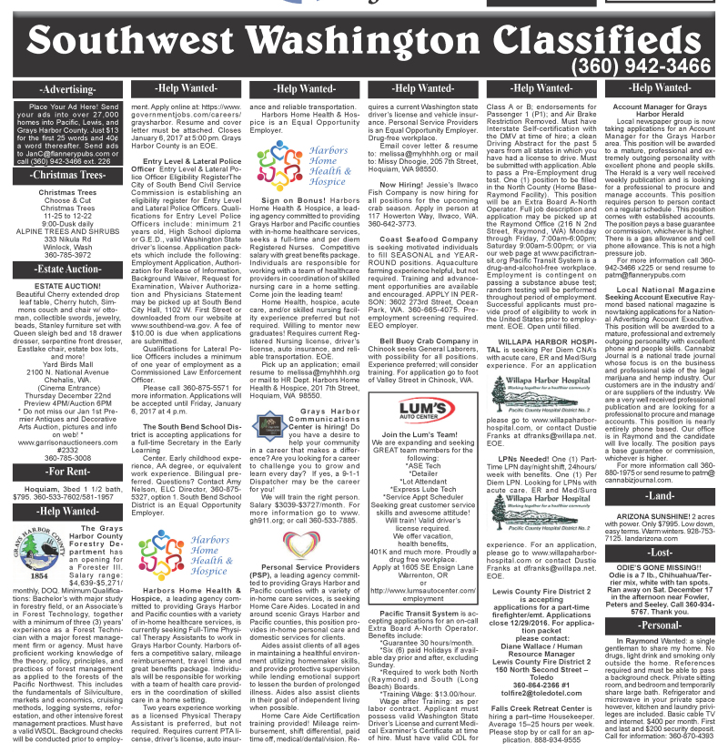 Classifieds 12.21.16