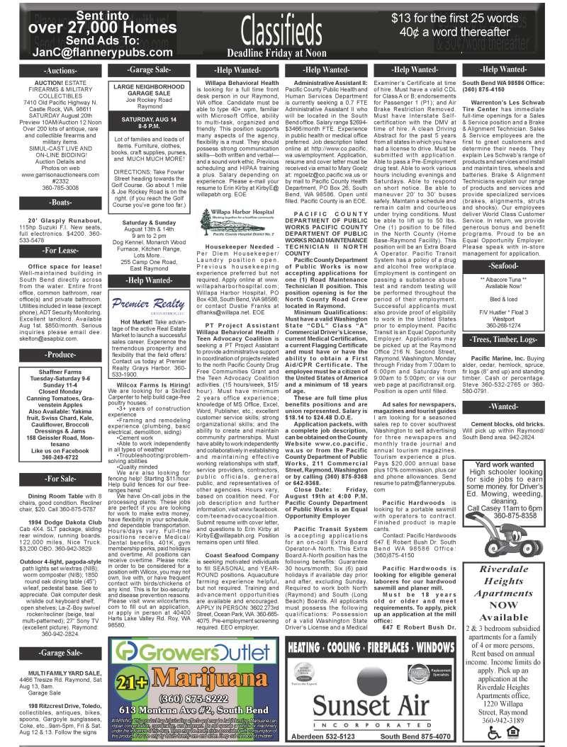 Classifieds Aug. 10, 2016