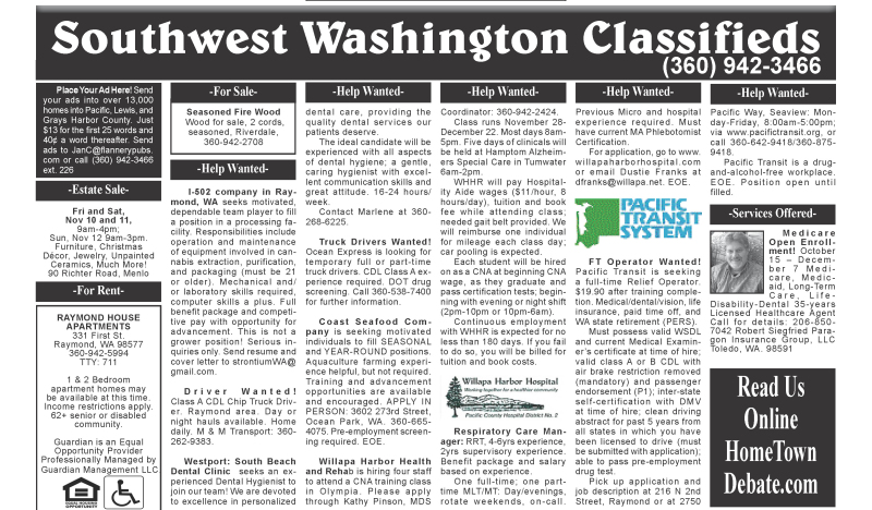Classifieds 11.8.17
