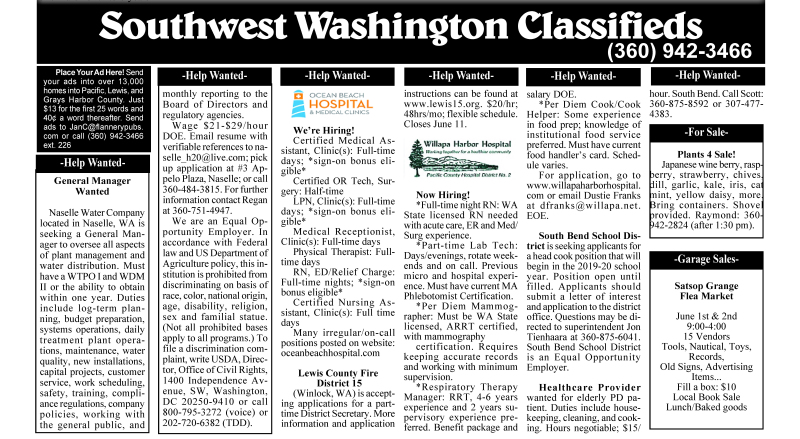 Classifieds 5.29.19