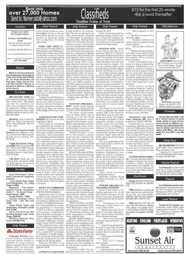 Classifieds 10.28.15