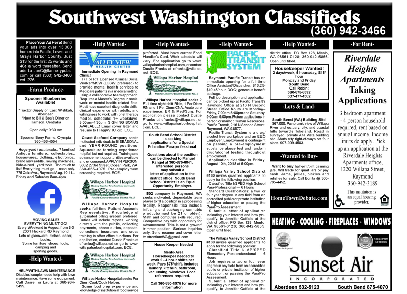 Classifieds 8.8.18