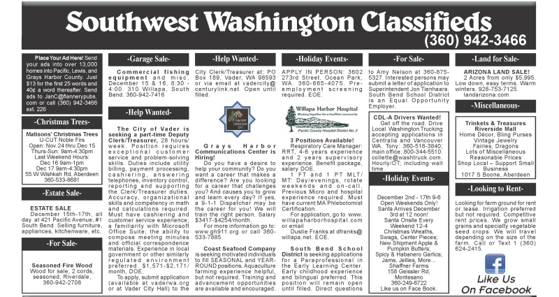 Classifieds 12.13.17