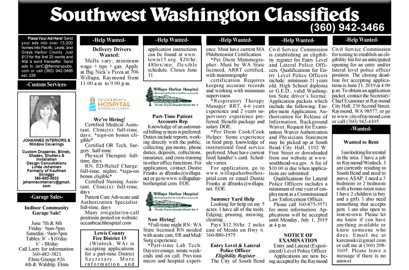 Classifieds 6.5.19