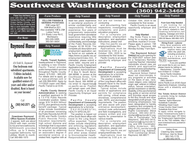 Classifieds 10.21.20