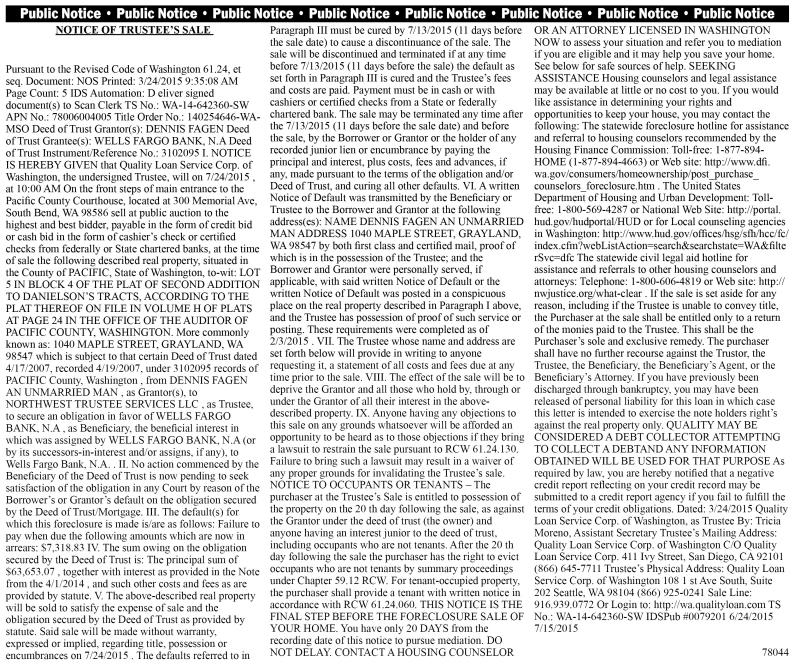 Legal 78044: NOTICE OF TRUSTEE'S SALE