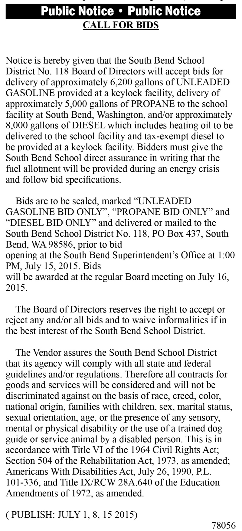 Legal 78056: CALL FOR BIDS