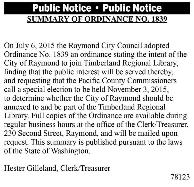 Legal 78123: SUMMARY OF ORDINANCE NO. 1839