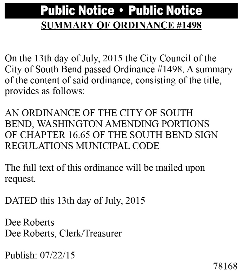 Legal 78168: SUMMARY OF ORDINANCE #1498