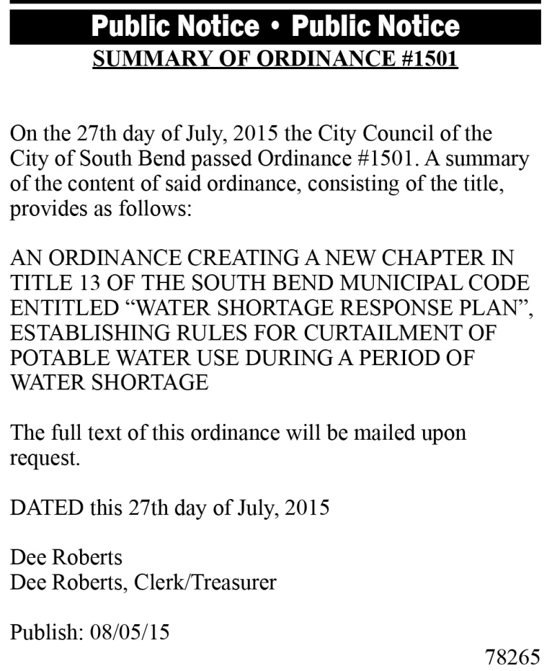 LEGAL 78265: SUMMARY OF ORDINANCE #1501