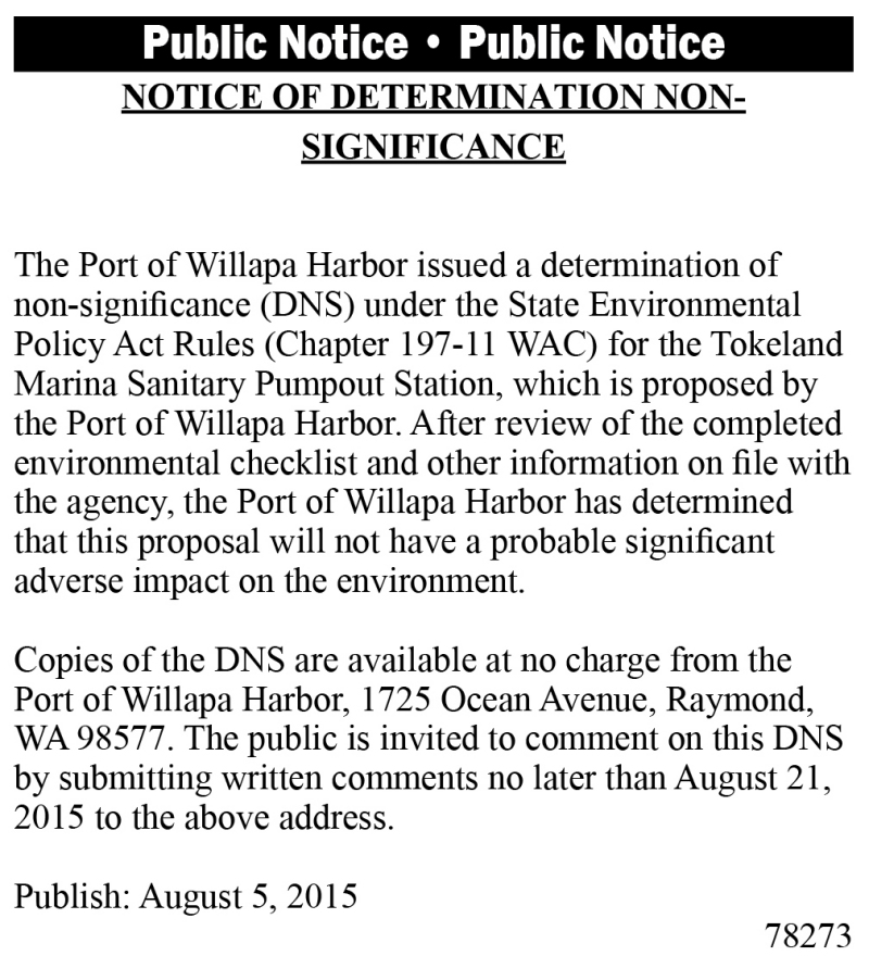 LEGAL 78273: NOTICE OF DETERMINATION NON-SIGNIFICANCE