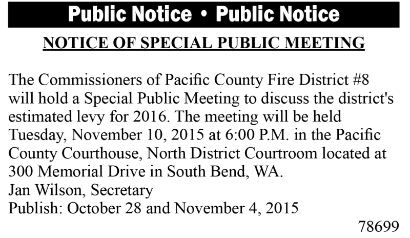 Legal 78699: Fire District 8 Notice of Special Public Meeting