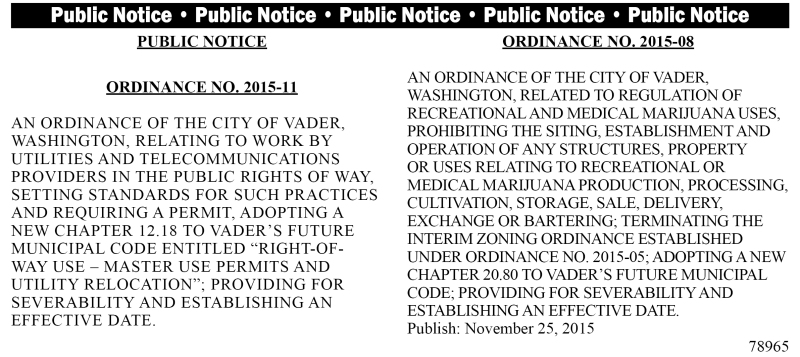 Legal 78965: Ordinance No. 2015-11 & 2015-08