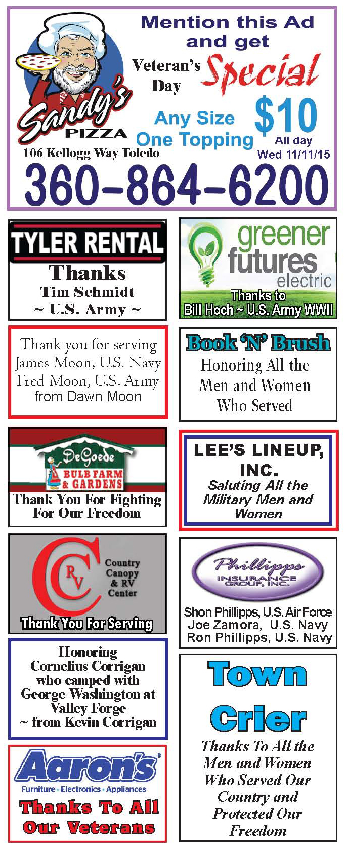 Thanks to All Our Veterans from: