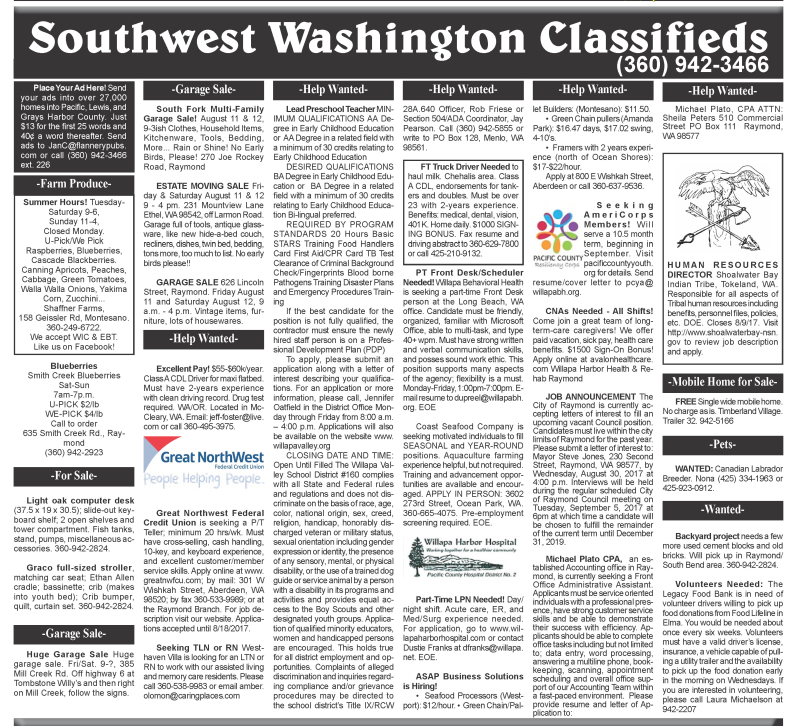 Classifieds 8.9.17