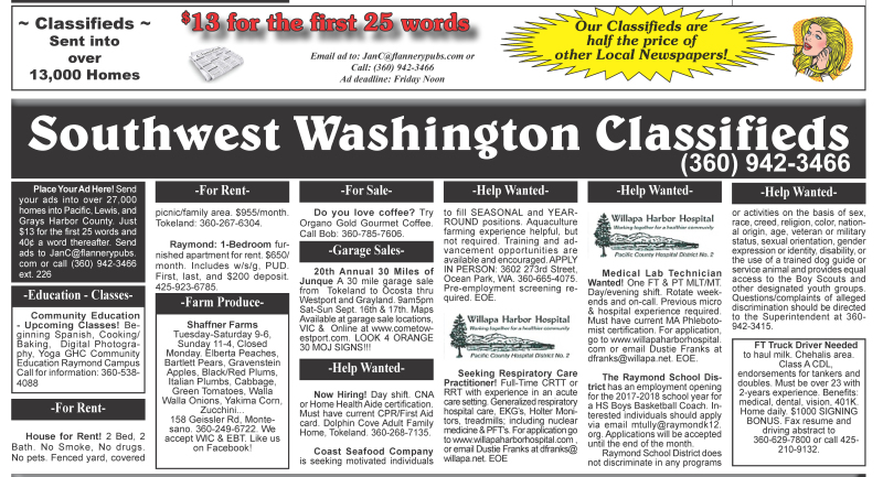 Classifieds 9.13.17