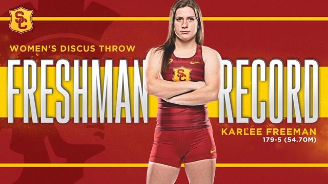 Raymond's Freeman sets USC freshman discus record