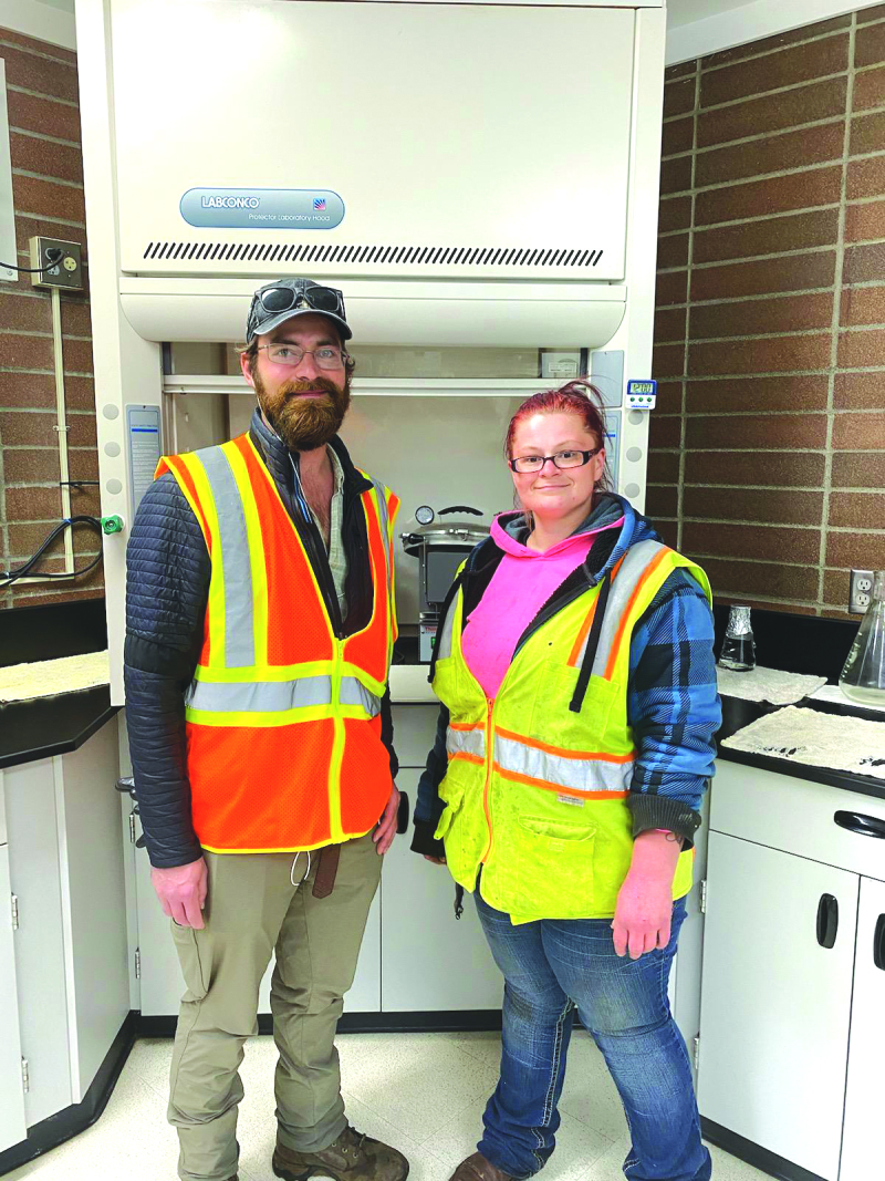 Current intern of the Winlock intern program for water distribution and wastewater James Agrens stands with graduating intern Heather Luurs.
