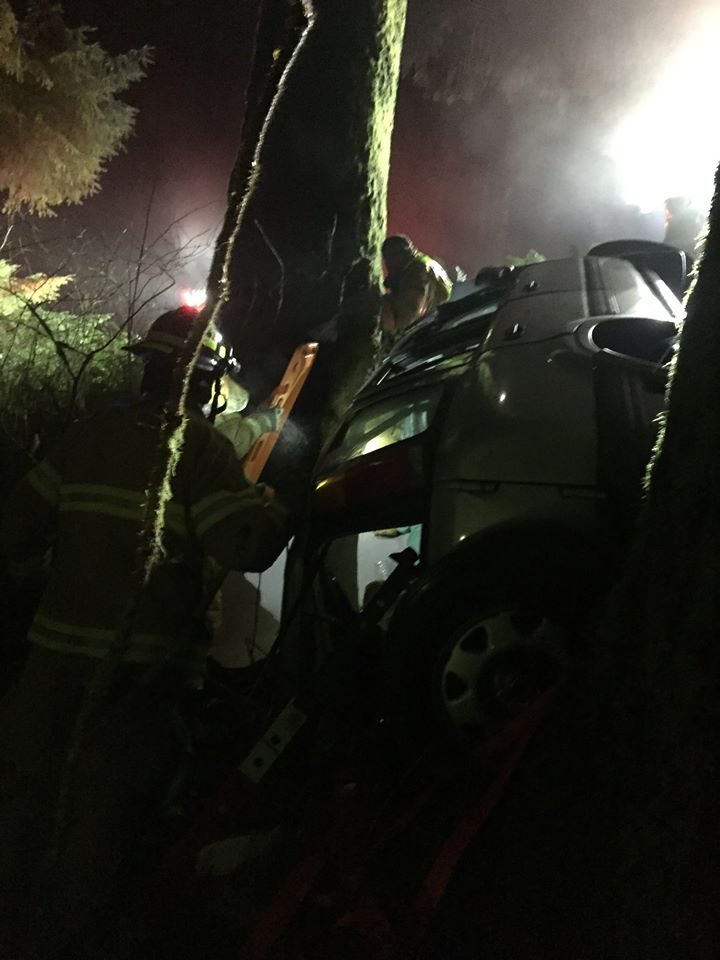 Local first responders rescue driver trapped down embankment