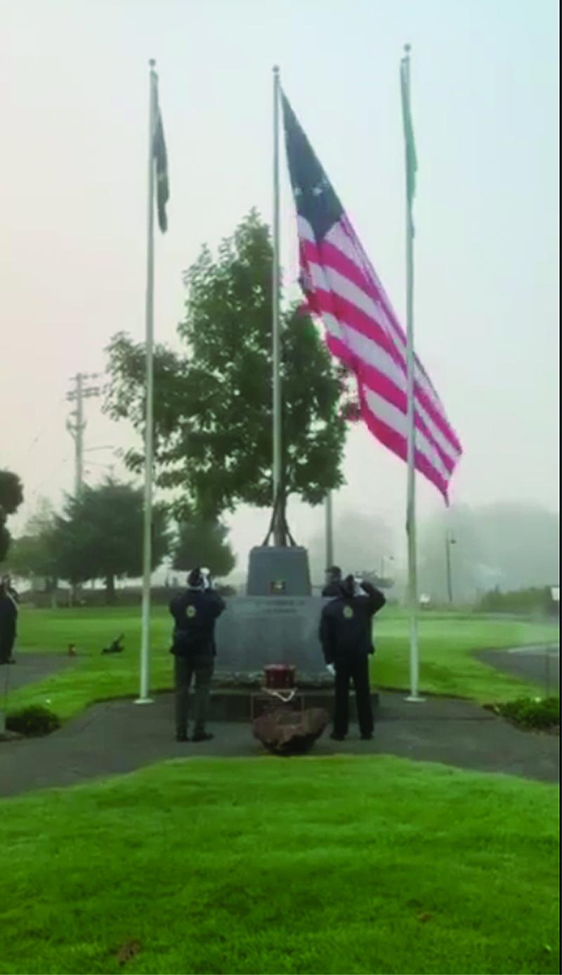 Betsy Ross Centennial Flag raising
