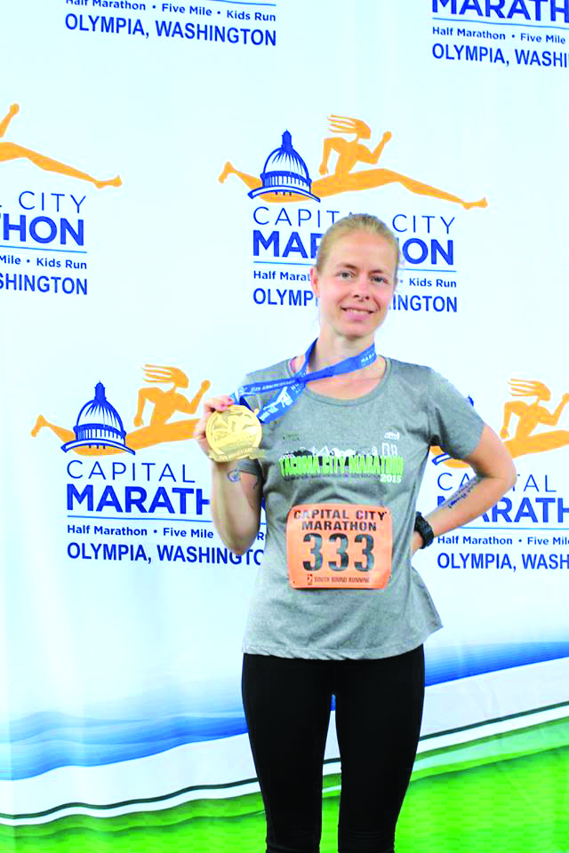 Heather Seay at the conclusion of the Capital City Marathon.