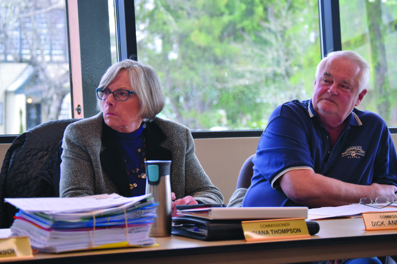 Photo by Todd Bennington - PUD Commissioners Diana Thompson and Dick Anderson at last Tuesday's meeting.