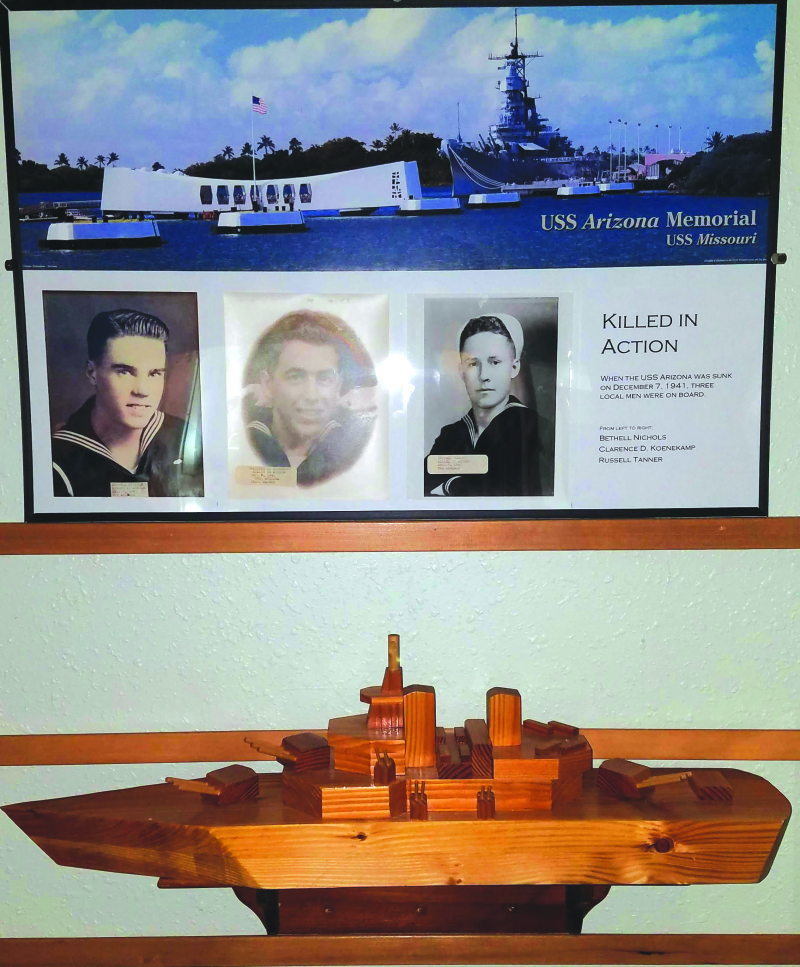 Photo provided by the American Legion post #150 - Three local Raymond men, Bethell Nichols, Clarence D. Koenekamp, and Russell Tanner all lost their lives when the USS Arizona was sunk on December 7, 1941 in Pearl Harbor. They are remembered on a plaque o
